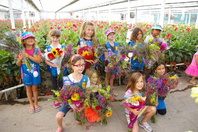 Girl Scouts visit the farm