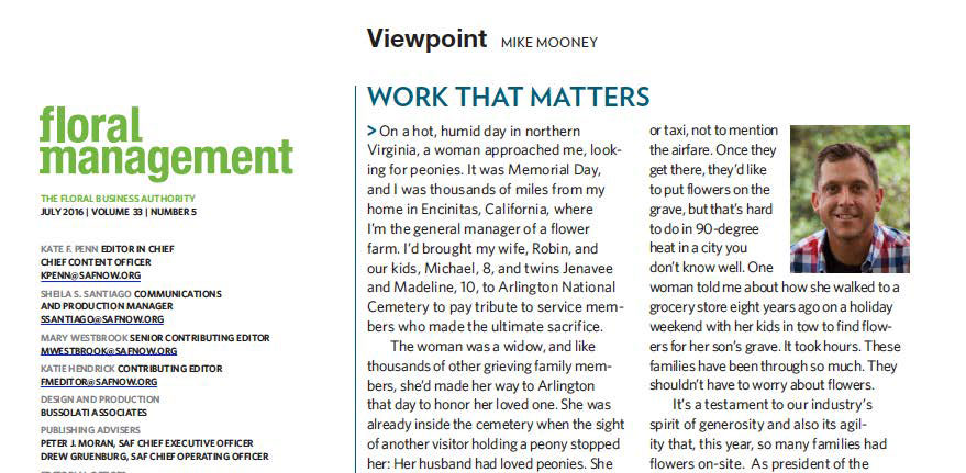 Work that Matters – Floral Management Issue July 2016